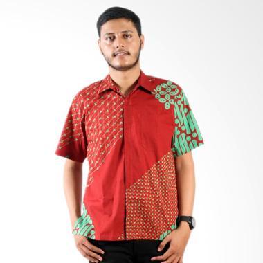 Batik Nulaba Cap Kemeja Pria Lengan Pendek Parang Anting C4 - Merah