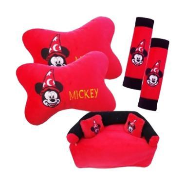 HL Fiesta 3in1 Kartun Mickey Aksesoris Interior Mobil - Merah