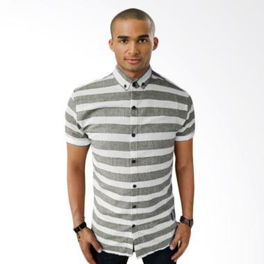 Kemeja Lengan Pendek HSB 0026 Short Oxford Grey Stripe White