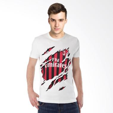 T-Shirt Glory Kaos 3D AC Milan Jersey Kaos Pria - Putih