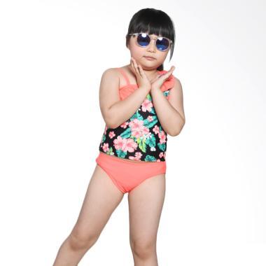 BO 805 Xhilaration Swimwear Flower  ... aju Renang - Black Orange