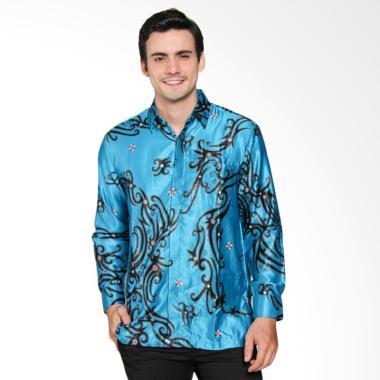 Batik Waskito Short Silk Shirt Batik Pria - Biru