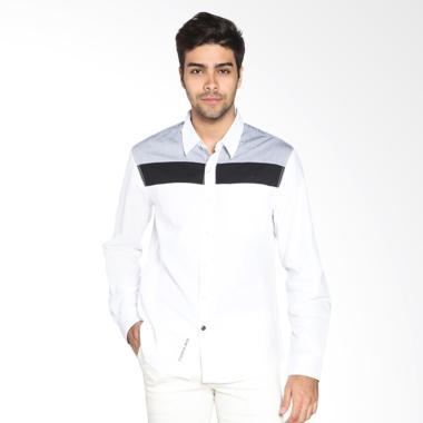 Cardinal Jeans Slim Fit CAKX003 08A Kemeja Pria - Putih Kombinasi