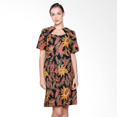 Jogja Batik Sherena Dress Kerja Batik Wanita - Motif Bunga Pink
