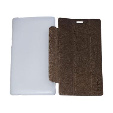 QCF Leather Bookcover Flip Cover Ca ... novo Tab 2 A7-10 - Coklat