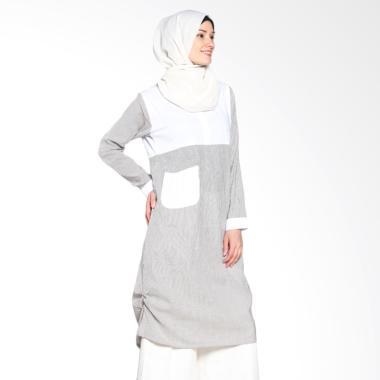 Chick Shop Unique Stripes CO-78-03-HP Dress Moslem - Black White