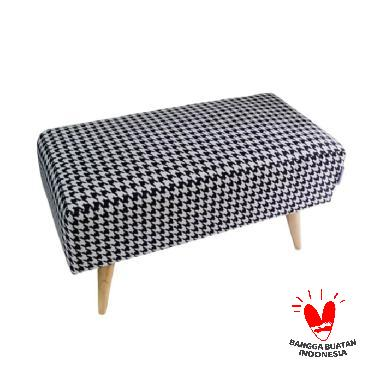 Ayoyoo Houndstooth Double Seat Stool - White Black