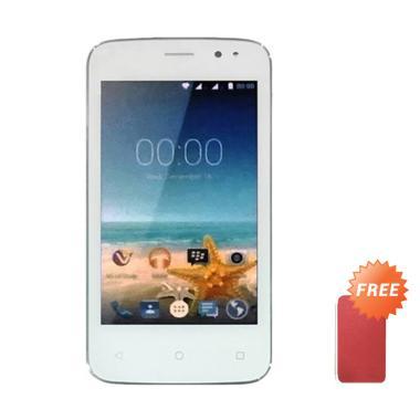 Advan Vandroid S4T Smartphone - White + Free Flip Cover Casing - Merah