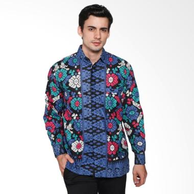 Jogja Batik Kemeja Batik Motif Songket Bali Lengan Panjang Biru