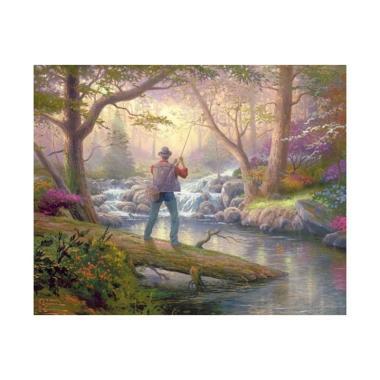 Let's Talk Canvas River Fishing Lukisan Digital [40 x 60 cm]