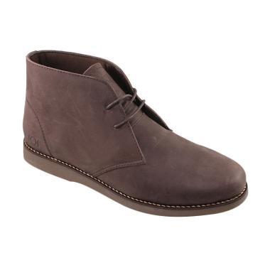 SAUQI Kulit Asli CH Sepatu Boots Pria - Chukka Brown