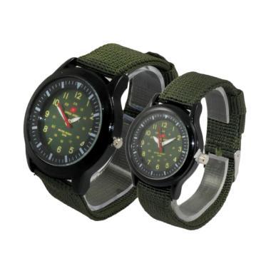 Swiss Army 0123 Kanvas Strap Analog Jam Tangan Couple - Green