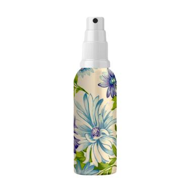 Akrilik Motif Daun Biru Ungu Nano Water Spray - Flowers Blue