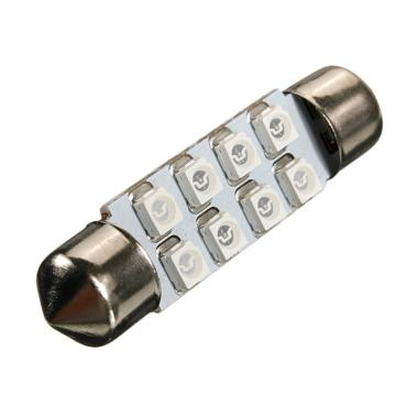 JMS Festoon 8 SMD 1210-3528 31mm Kabin Plafon Lampu LED For Mobil - Blue [1 Pair/2 Pcs]