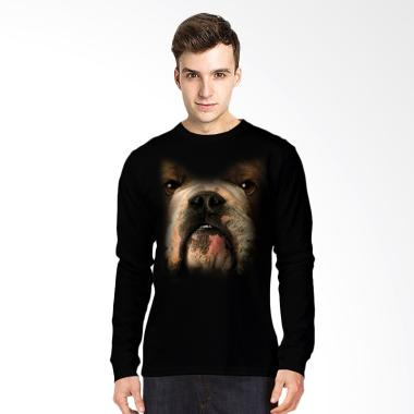 T-Shirt Glory 3D Anjing Buldog Kaos Lengan Panjang Pria - Hitam