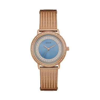 GUESS W0836L1 Jam Tangan Wanita Stainless  Rose Gold Crystal - Blue