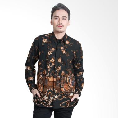 Aamir Kinsler BTU16 Tulis Lengan Panjang Kemeja Batik Pria - HItam