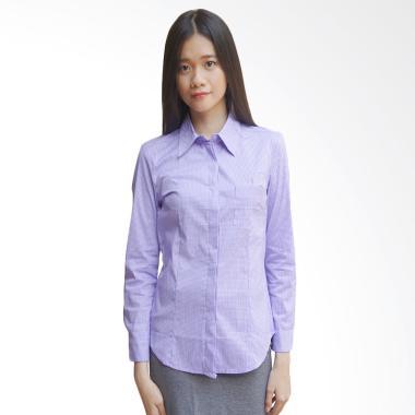 Adore Ladies Kemeja Lengan Panjang Kotak Atasan Wanita - Purple