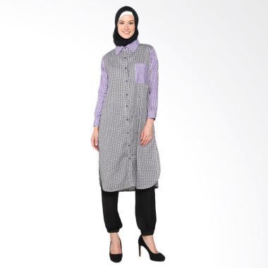 Chick Shop Simple Long Shirt CO-59-02-HU Baju Moslem - Black Purple