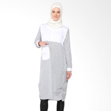 Chick Shop Unique Stripes Dress CO-78-01-DP Moslem Navy - white
