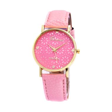 Geneva 002 Flowers Analog Leather Band Quartz Jam Tangan Wanita - Pink