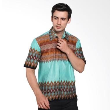 Jogja Batik Ernest Hem Motif Songket Lengan Pendek Baju Batik Pria Hijau