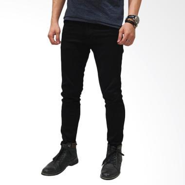 Frozenshop.com Skinny Celana Jeans Pria - Hitam Polos