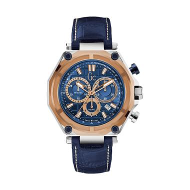GUESS COLLECTION Leather Jam Tangan Pria Gc X10002G7S - Biru