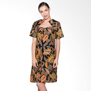 Jogja Batik Sherena Dress Kerja Batik Wanita - Motif Bunga Orange