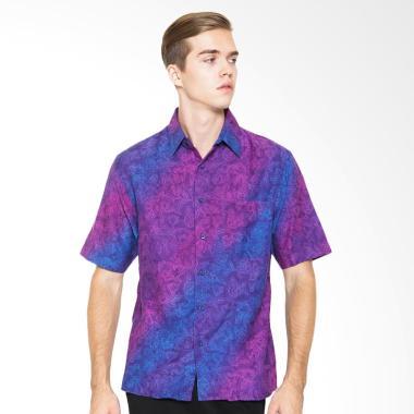 Parama Batik Lengan Pendek Slim Fit Iris Kemeja Batik Pria - Ungu