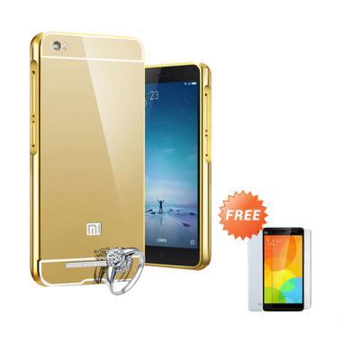 Jagostu Bumper Mirror Casing for Xiaomi Mi4i or Mi4c - Gold + Free Tempered  Glass
