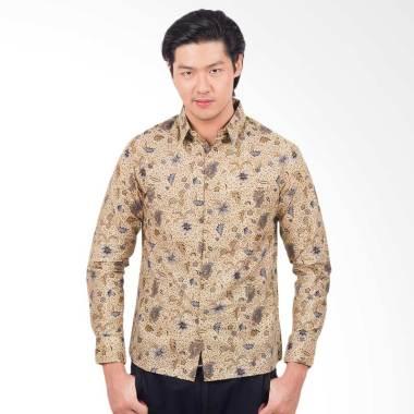 Parama Batik Creme Slim Fit Batik Kemeja Lengan Panjang Pria - Cream