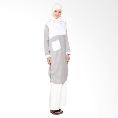 Chick Shop Unique Stripes Dress CO-78-02-CP Moslem Brown - white