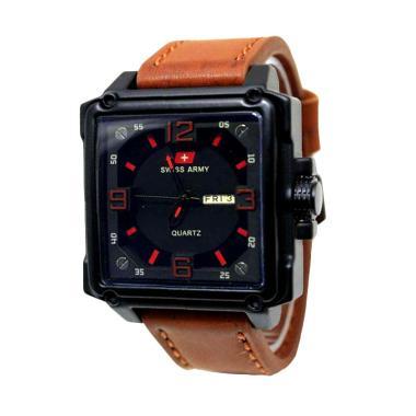 Jual Swiss Army Leather Strap SA 07051 AD Jam Tangan Pria - Coklat Muda Terbaru - Harga Promo Mei 2019   Blibli.com