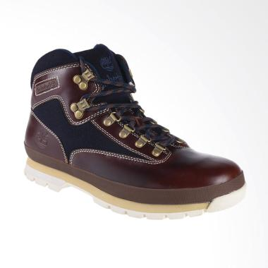 Timberland Euro Hiker Mid Fabric and Leather Sepatu Boot - Navy