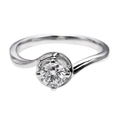 Tiaria DHTXDFJ002 Cincin Berlian emas putih [18K]