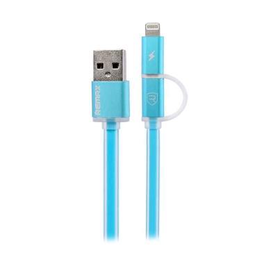 Remax Aurora Cable Apple Lightning  ... abel Data - Biru [2 in 1]