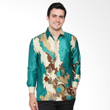 Batik Waskito Long Sleeve Silk Shirt Batik Pria - Green