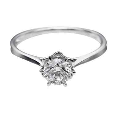 Tiaria DHTXDFJ015 Cincin Berlian emas putih [18K]