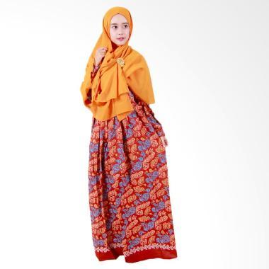 Batik Putri Ayu Solo Batik Syari GH2 Gamis - Orange