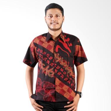 Batik Nulaba Daun Pulau Batik Cap Pria Kemeja Lengan Pendek - Coklat