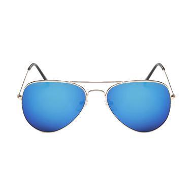 Deoclaus Fashion Aviator Eyewear Harley Sunglasses - Blue Gold