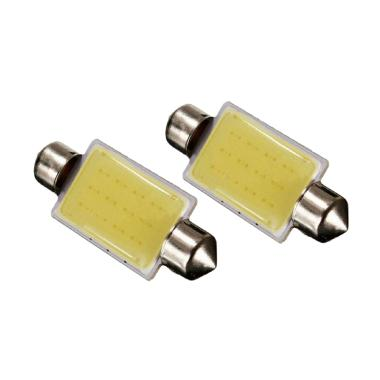 JMS Double Wedge COB 12 Chips - 36 Mm Lampu LED Mobil For Kabin/Plafon/Festoon [1 Pair/2 Pcs]