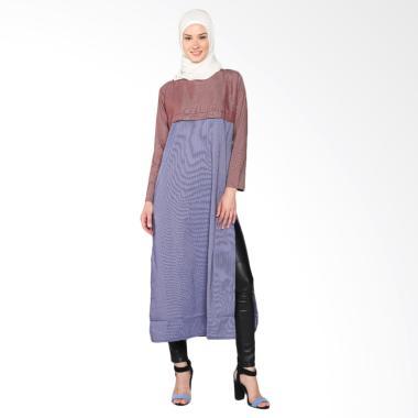 Chick Shop Stripes Dress Combinatio ... BM Baju Moslem - Blue Red