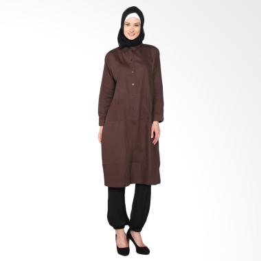 Chick Shop Simple Plain Long Shirt  ...  Baju Moslem - Dark Brown