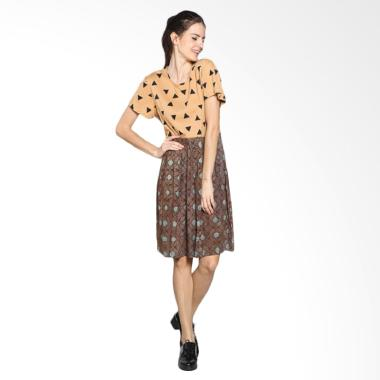 Fafa Collection DEAR 009 Two tones Dress Batik Wanita - Coklat Muda