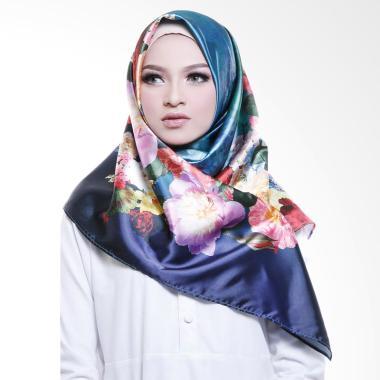Cotton Bee Carnation Flower Blossom Square Hijab - Blue Saphire