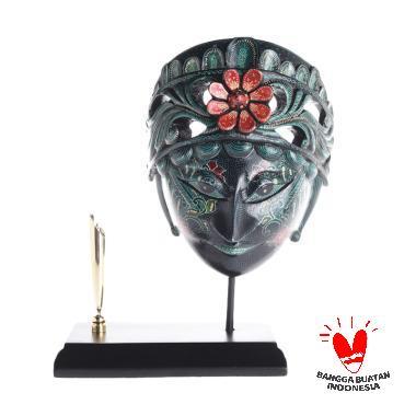 Wonosari Art Topeng Batik Merak Kerawang Pen Holder - Hijau [M]