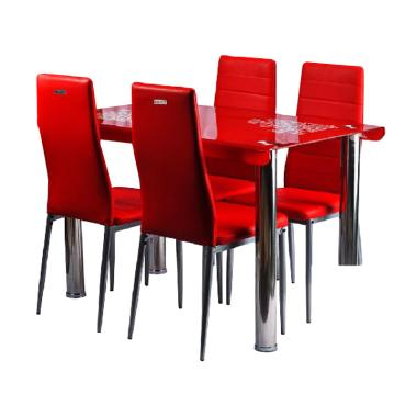 Best Furniture IMP-DSK08 Minimalis Set Meja Makan - Red [120 x 70 cm]