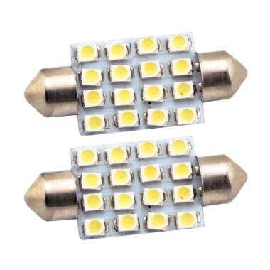 JMS Festoon 16 SMD 1210 39 Mm Lampu LED Mobil For Kabin Or Plafon - White [1 Pair/2 Pcs]